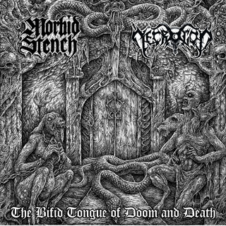MORBID STENCH / NECROGOD - The Bifid Tongue Of Doom and Death (EP) White